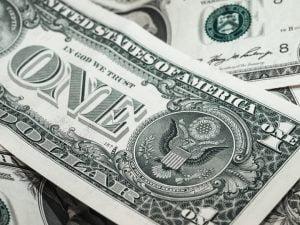 Biljet van een Amerikaanse dollar in zwart-wit