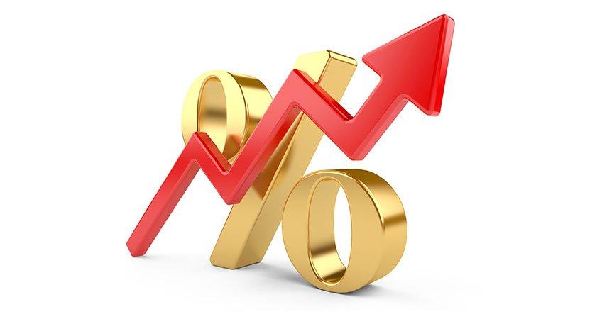 Percentage met een pijl omhoog symboliseert een renteverhoging