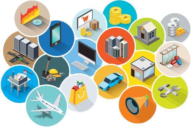 iconen van verschillende economische sectoren