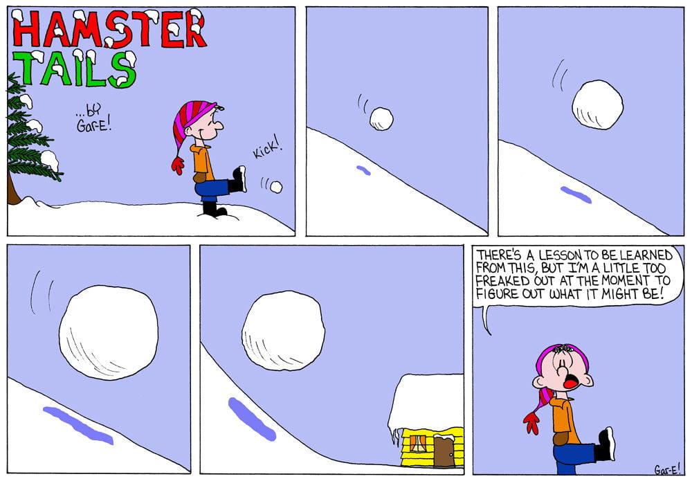 Sneeuwbal wordt groter en groter en vermorzeld huis als illustratie van compounding