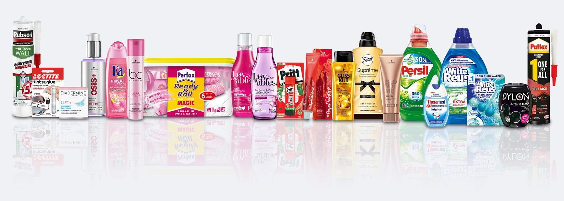 Een selectie van merken van Henkel uitgestald