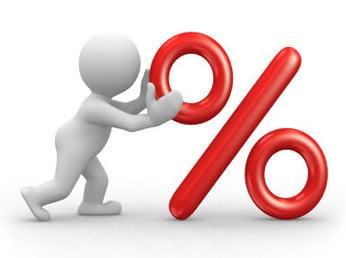 Poppetje met percentage teken