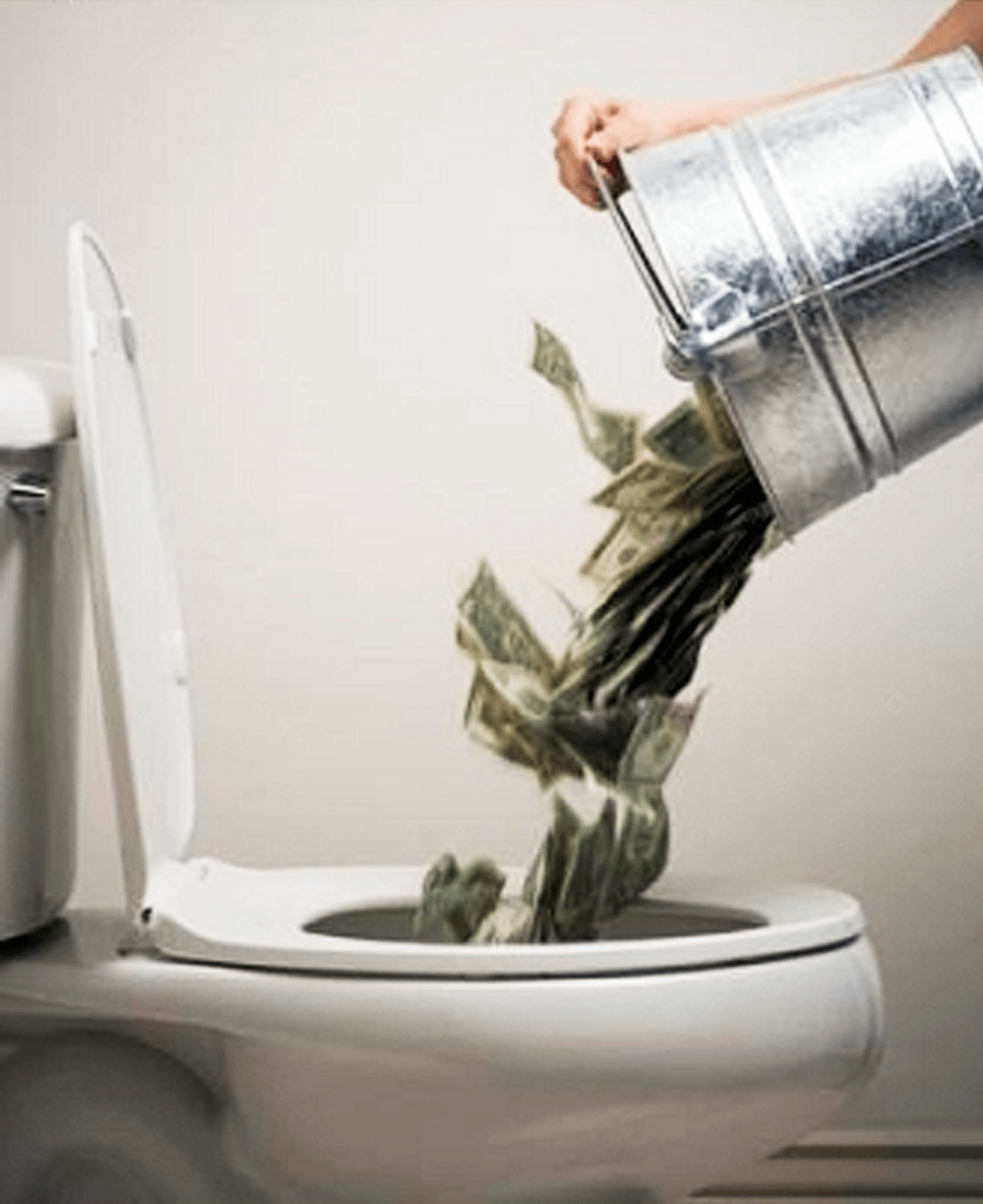 Dollars door de plee spoelen