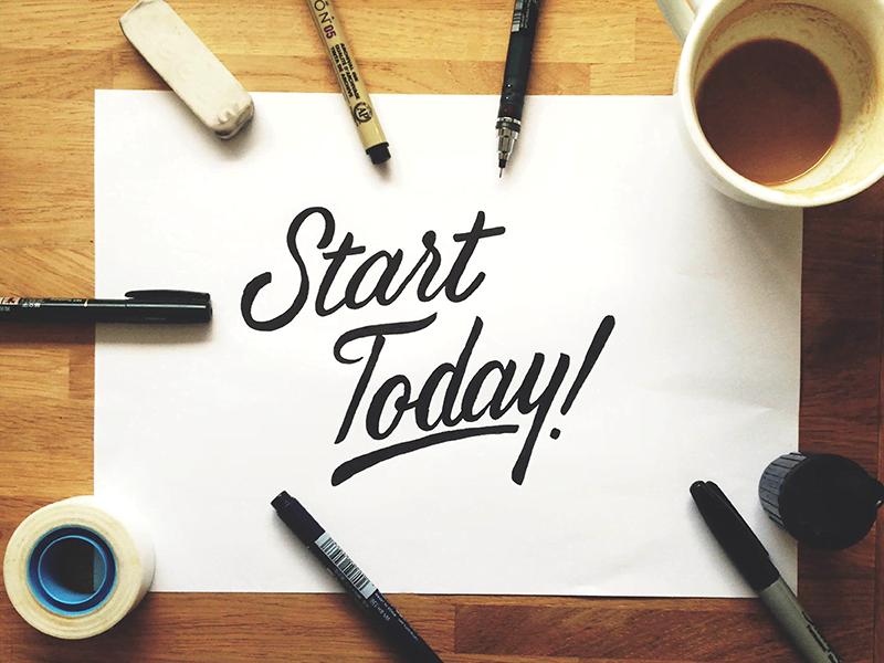 Start vandaag geschreven op een vel papier