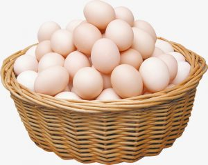 eieren in een mandje