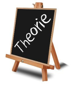 Schoolbord met het woord theorie er op geschreven
