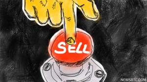 """Wijsvinger die op een knop met het opschrift """"Sell"""" rust"""