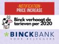 Binck verhoogt de tarieven weer per januari 2020